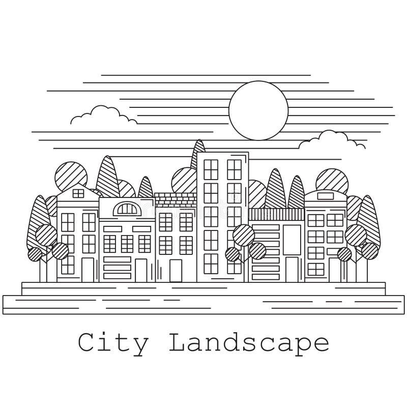 De vectorillustratie van het stadslandschap vector illustratie