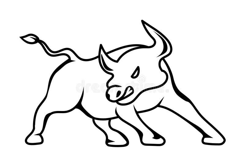 De vectorillustratie van het stierenembleem Het embleem van het effectenbeurspictogram vector illustratie