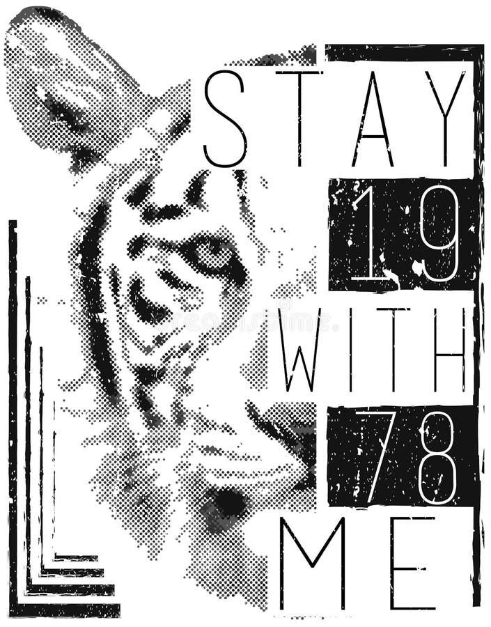 De vectorillustratie van het tijgergezicht met typo voor T-stukdruk vector illustratie