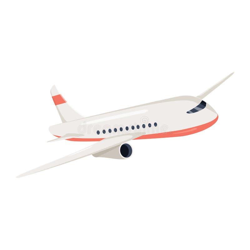 De vectorillustratie van het vliegtuigpictogram De reissymbool van de vliegtuigvlucht Vlakke vliegtuigmening van een het vliegen  vector illustratie