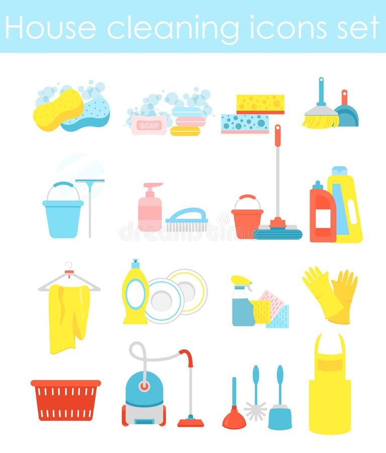 De vectorillustratie van huis schoonmakende pictogrammen plaatste, kleurrijke en heldere inzameling van elementen voor het schoon stock illustratie