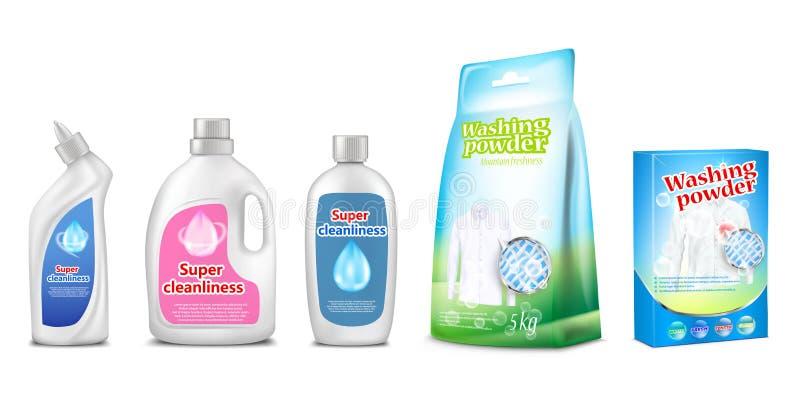 De vectorillustratie van huishoudenchemische producten van toilet of badkamers schonere, wassende vloeibare of detergent 3d reali stock illustratie
