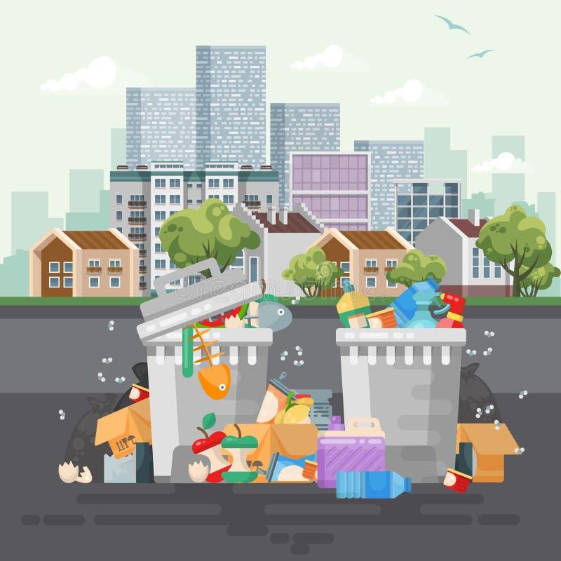 De vectorillustratie van de huisvuilcontainer in modern ontwerp Vuilnisbak met vuilnis wordt geplaatst dat royalty-vrije illustratie