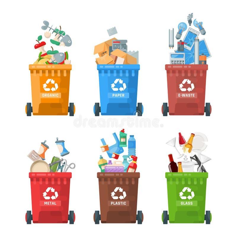 De vectorillustratie van de huisvuilcontainer in moderne stijl Vuilnisbak met vuilnis wordt geplaatst dat malplaatje royalty-vrije illustratie