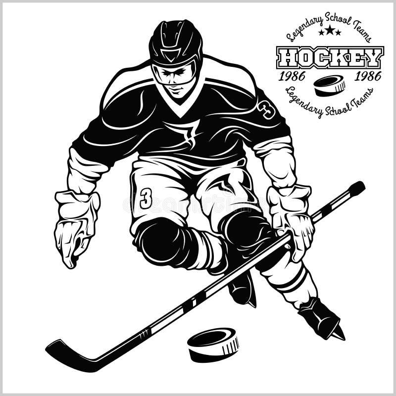 De Vectorillustratie van de ijshockeyspeler royalty-vrije illustratie