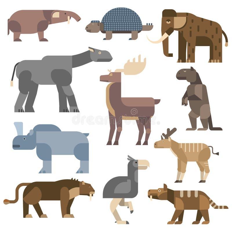 De vectorillustratie van ijstijddieren stock illustratie