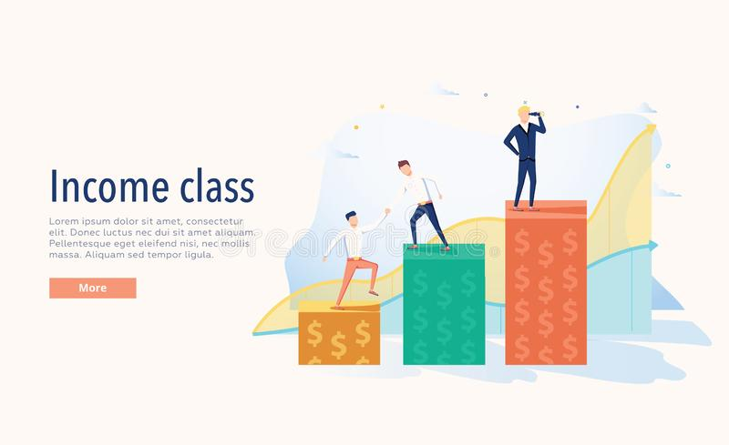 De vectorillustratie van de inkomensklasse Vlak de rijkdomconcept van drie niveaus uiterst klein personen Economische systeem sym stock illustratie