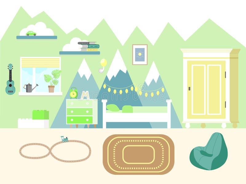 De vectorillustratie van de jonge geitjesruimte in vlakke stijl met garderobe, boeken, ukelelegitaar, bed, ladenkast en speelgoed stock afbeeldingen
