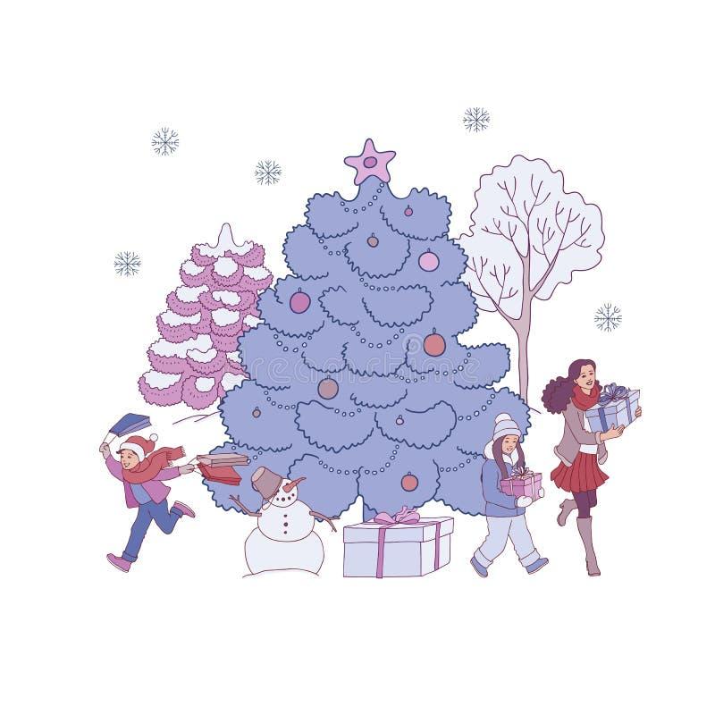 De vectorillustratie van Kerstmis en Nieuwjaarbanner met getrokken hand verfraaide spar en mensen met giften stock illustratie