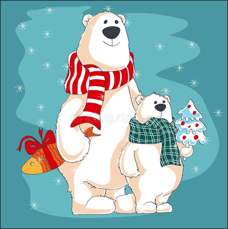 De vectorillustratie van Kerstmis Twee ijsberen met giften stock illustratie