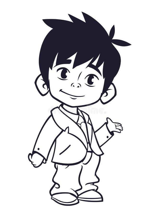 De vectorillustratie van kleine jongen bij de mens ` s kleedt overzichten Beeldverhaal van een jonge jongen vector illustratie