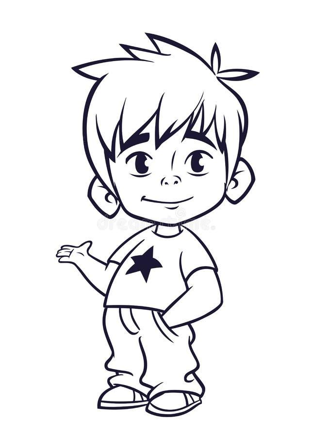 De vectorillustratie van kleine jongen bij de mens ` s kleedt overzichten Beeldverhaal van een jonge jongen stock illustratie