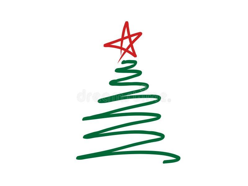 De vectorillustratie van krabbel-stijl stileerde Kerstboomgekrabbel met rode ster op bovenkant royalty-vrije illustratie