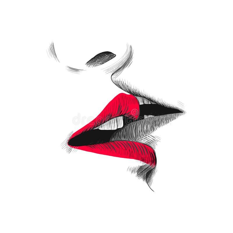 De vectorillustratie van de kusschets, hand getrokken zwarte, rode en witte krabbeltekening Jong paar kussen, open lippen en vector illustratie