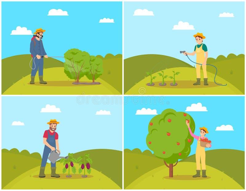 De Vectorillustratie van landbouwerswoman harvesting set royalty-vrije illustratie