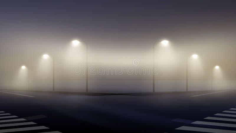 De vectorillustratie van lege mistige straat bij nacht in voorsteden, behangmist stak lantaarns aan royalty-vrije illustratie