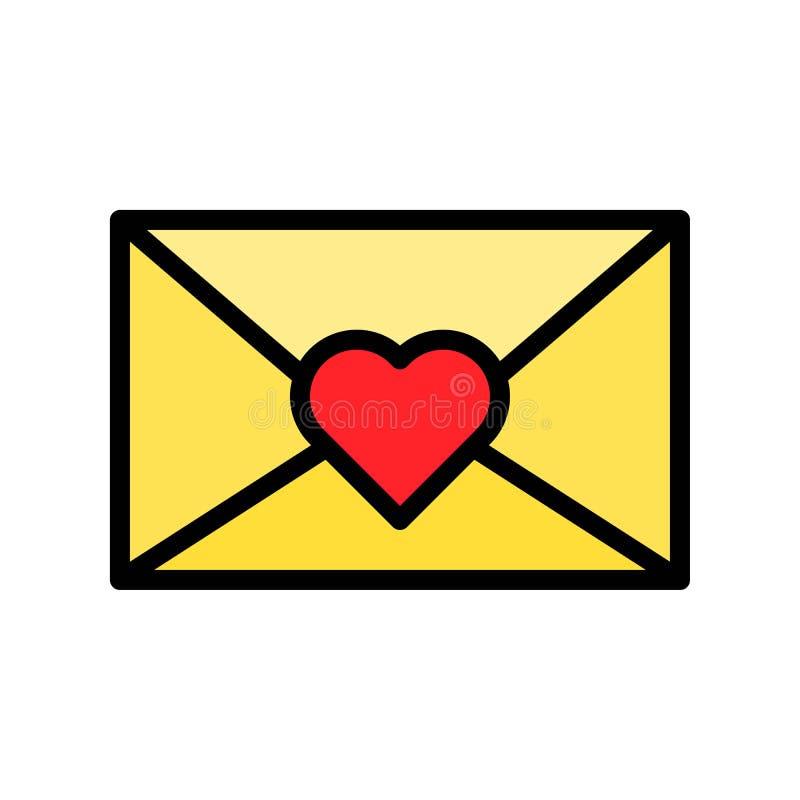 De vectorillustratie van de liefdebrief, het gevulde editable overzicht van het stijlpictogram vector illustratie
