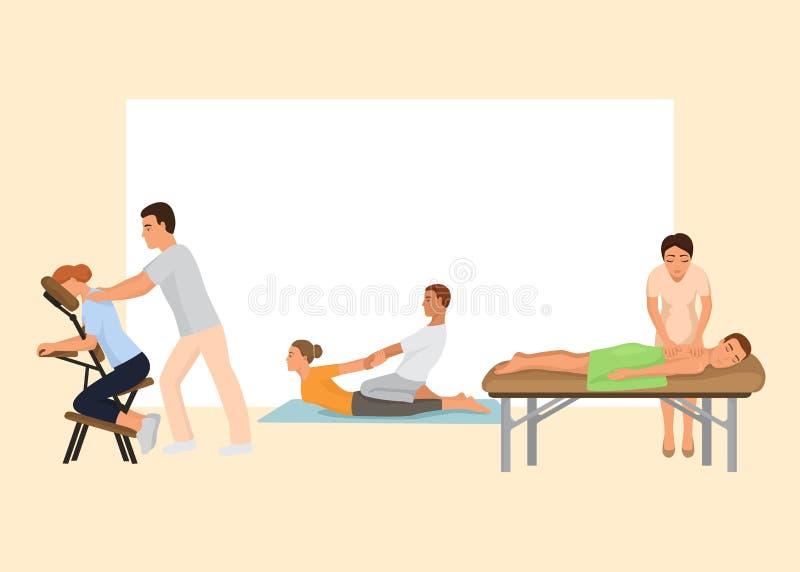 De vectorillustratie van de massageprocedure Beauty spa en de masseuse van therapeutproffecional Gezonde Levensstijl Ontspanning royalty-vrije illustratie