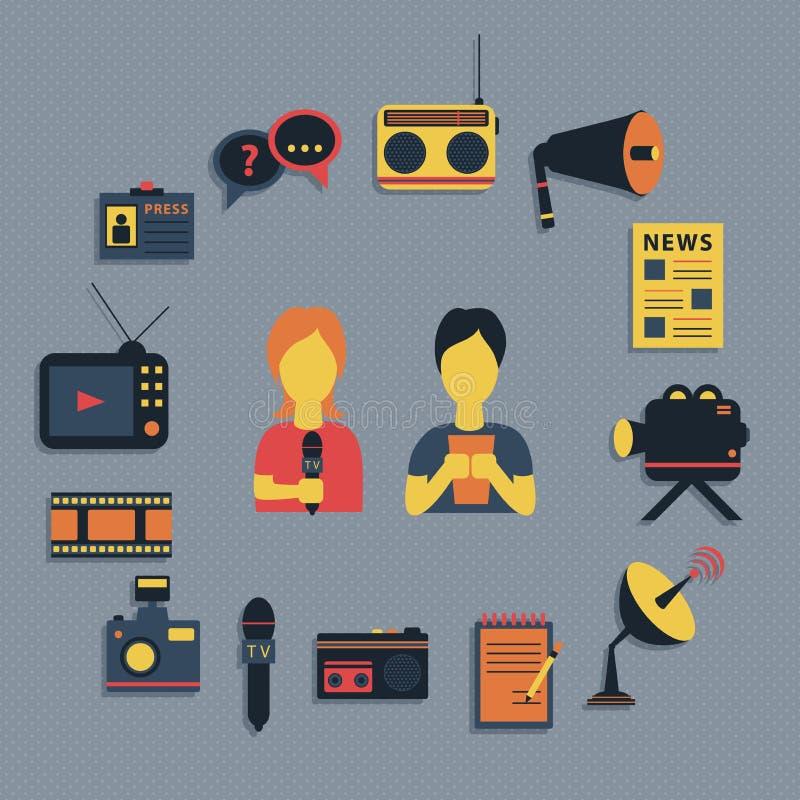 De vectorillustratie van massamediajournalistiek het uitzenden nieuws goot concepten vlakke bedrijfs geplaatste pictogrammen vector illustratie