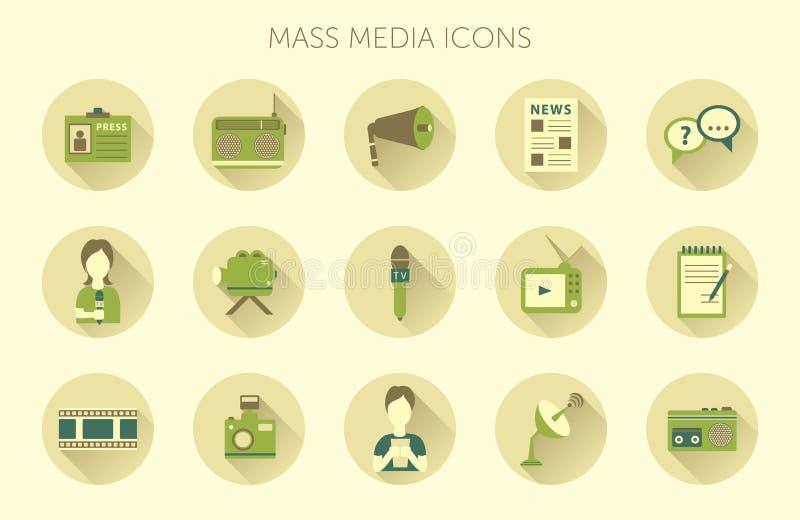 De vectorillustratie van massamediajournalistiek het uitzenden nieuws goot concepten vlakke bedrijfs geplaatste pictogrammen royalty-vrije illustratie