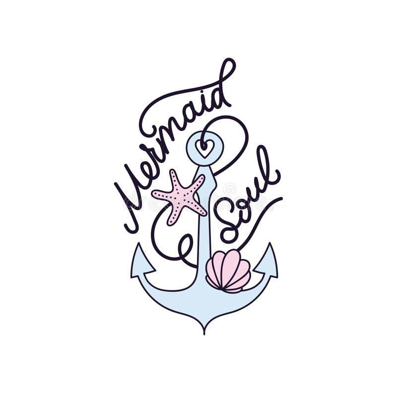 De vectorillustratie van de meerminziel met zeeschelp, anker, zeester en het van letters voorzien : De illustratie van de zomer vector illustratie