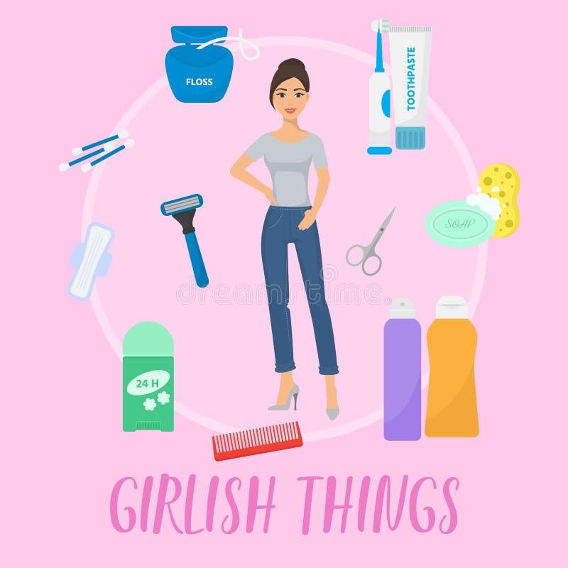 De vectorillustratie van de meisjesachtige dingenbanner Toiletries van de hygiënepersoonlijke verzorging reeks van hygiënische ba stock illustratie