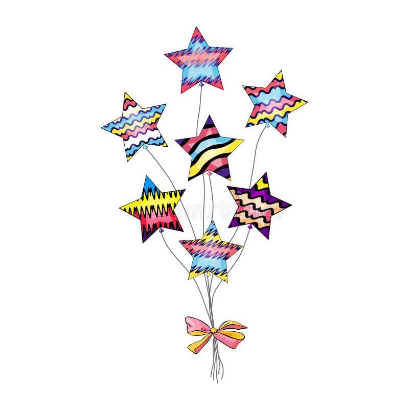 De vectorillustratie van mooie die ster vormde ballons samen met feestelijke die boog worden aangesloten bij op het wit wordt geï vector illustratie