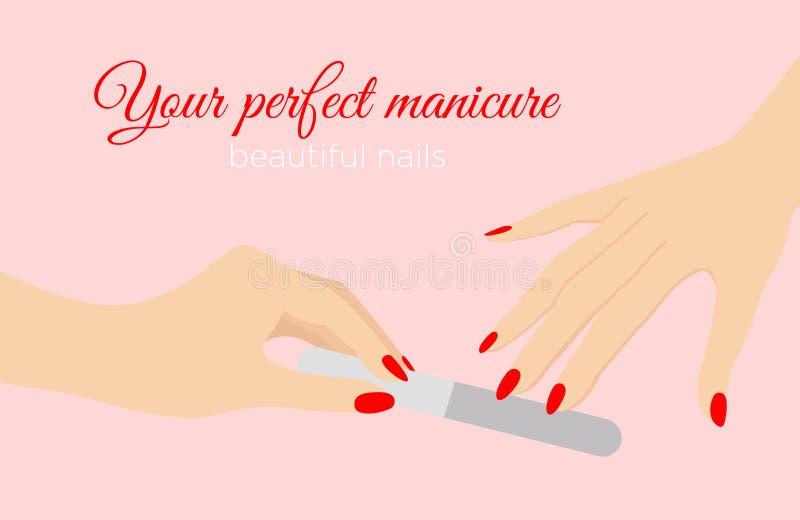 De vectorillustratie van mooie vrouw overhandigt het indienen spijkers met rode kleurennagellak, het concept van de Schoonheidssa stock illustratie