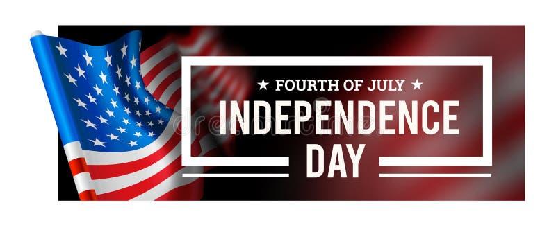 De vectorillustratie van de onafhankelijkheidsdag met golvende vlag van de Verenigde Staten van Amerika royalty-vrije illustratie