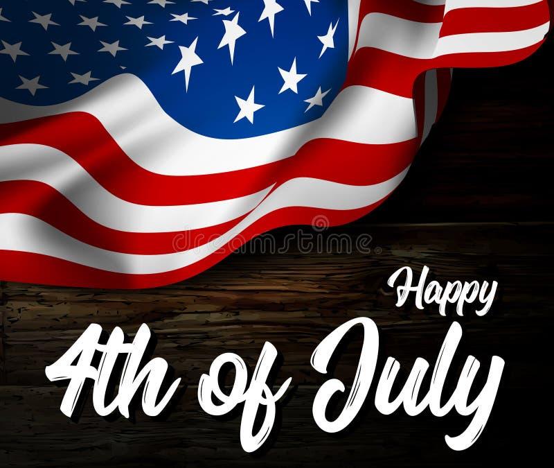 De vectorillustratie van de onafhankelijkheidsdag met golvende vlag van de Verenigde Staten van Amerika op houten vloer royalty-vrije illustratie