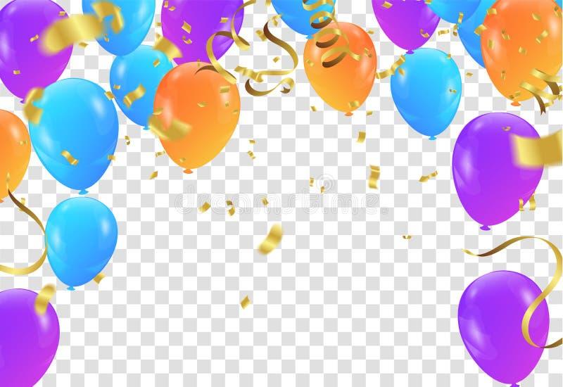 De vectorillustratie van partijballons Confettien en lintenvlag ri stock illustratie