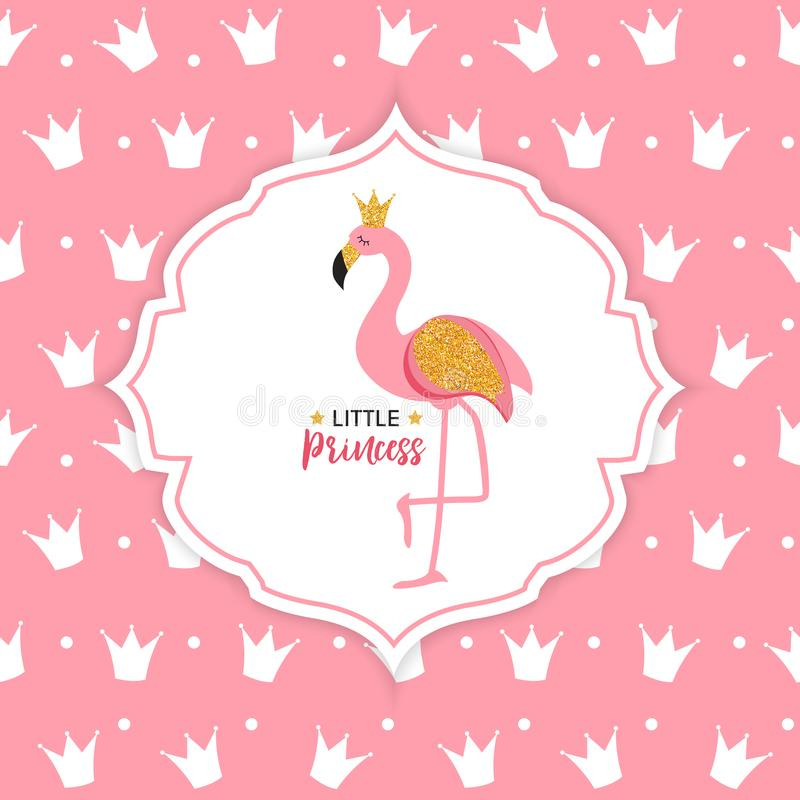 De Vectorillustratie van prinsesflamingo crown background stock illustratie