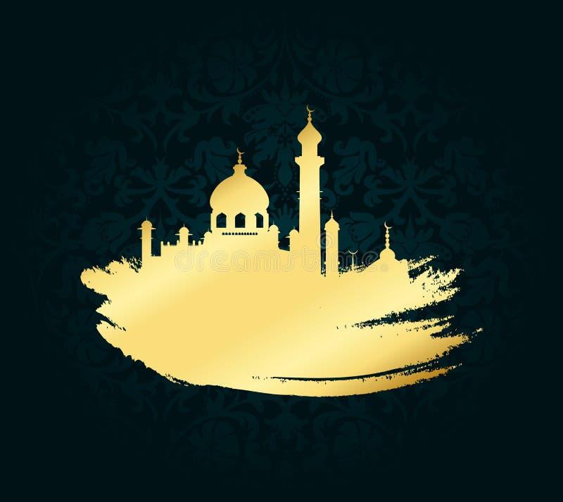 De vectorillustratie van Ramadan kareem Mubarak voor vierings gouden kwaststreek met moskee over zwarte achtergrond royalty-vrije illustratie