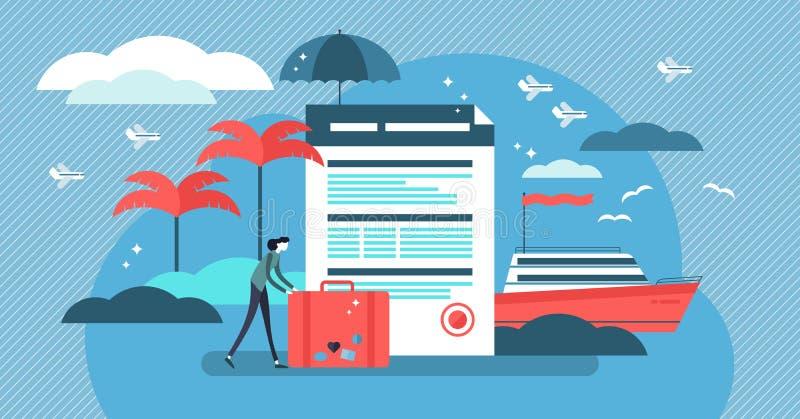 De vectorillustratie van de reisverzekering met gestileerde toerist en overeenkomst stock illustratie