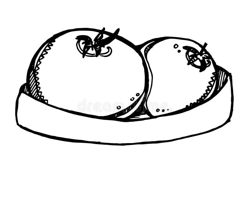 De vectorillustratie van rijpe tomaat met stam maakte en enige tomatenbloem liggend op het recht vast royalty-vrije illustratie