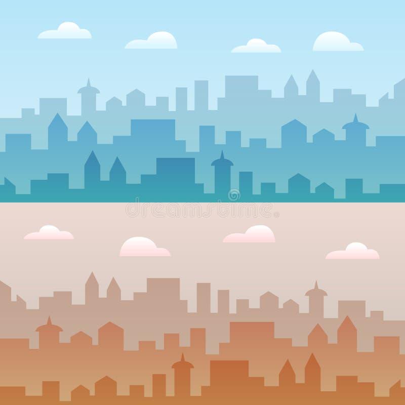 De vectorillustratie van de stadshorizon Twee stedelijke landschappen Dagcityscape in vlakke stijl royalty-vrije illustratie