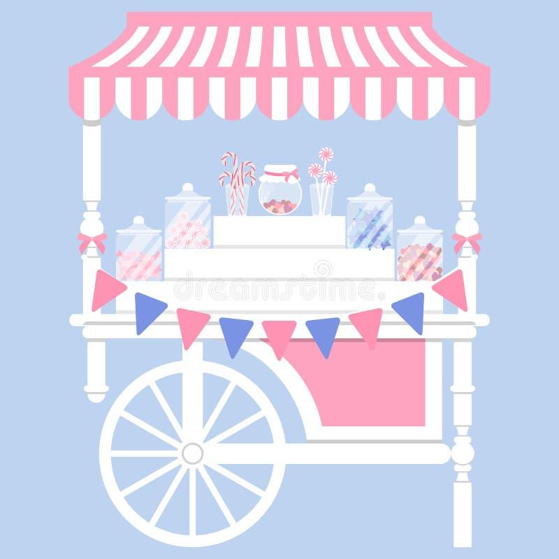 De vectorillustratie van de suikergoedkar stock illustratie