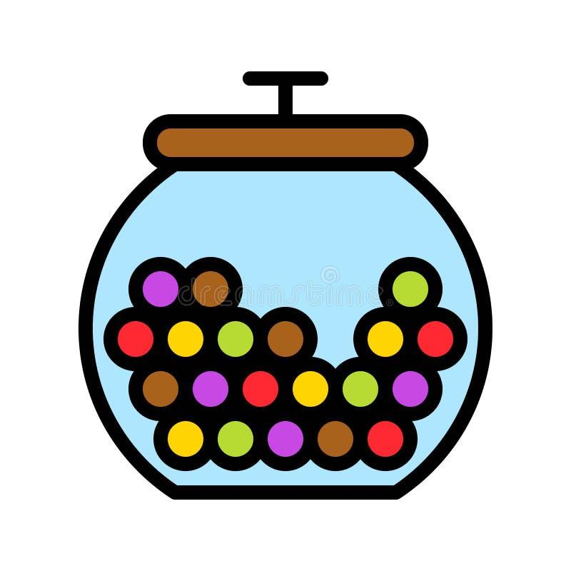 De vectorillustratie van de suikergoedkruik, het gevulde editable overzicht van het stijlpictogram vector illustratie