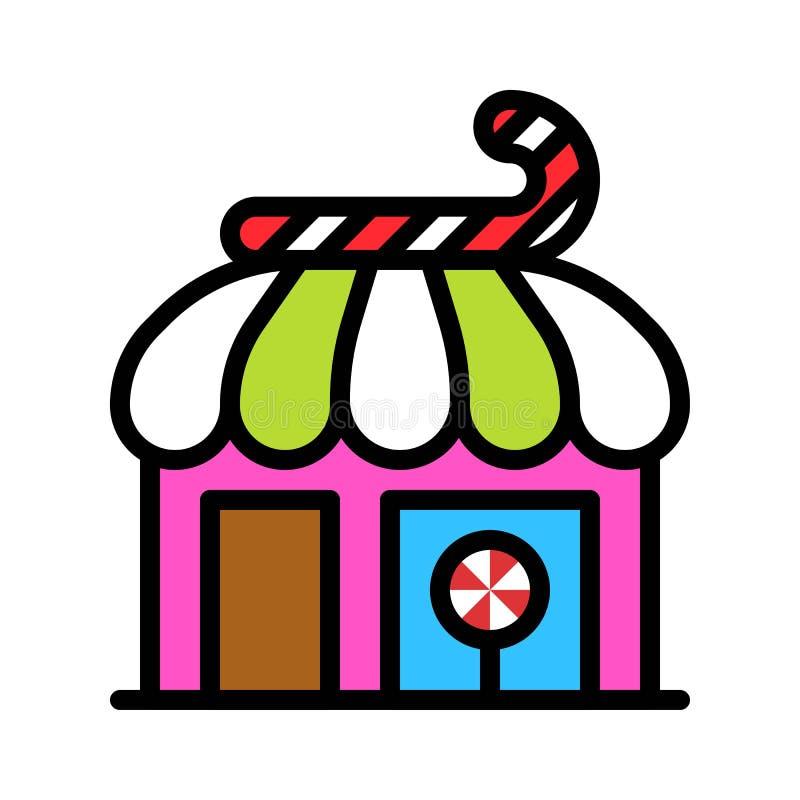 De vectorillustratie van de suikergoedwinkel, het gevulde editable overzicht van het stijlpictogram vector illustratie