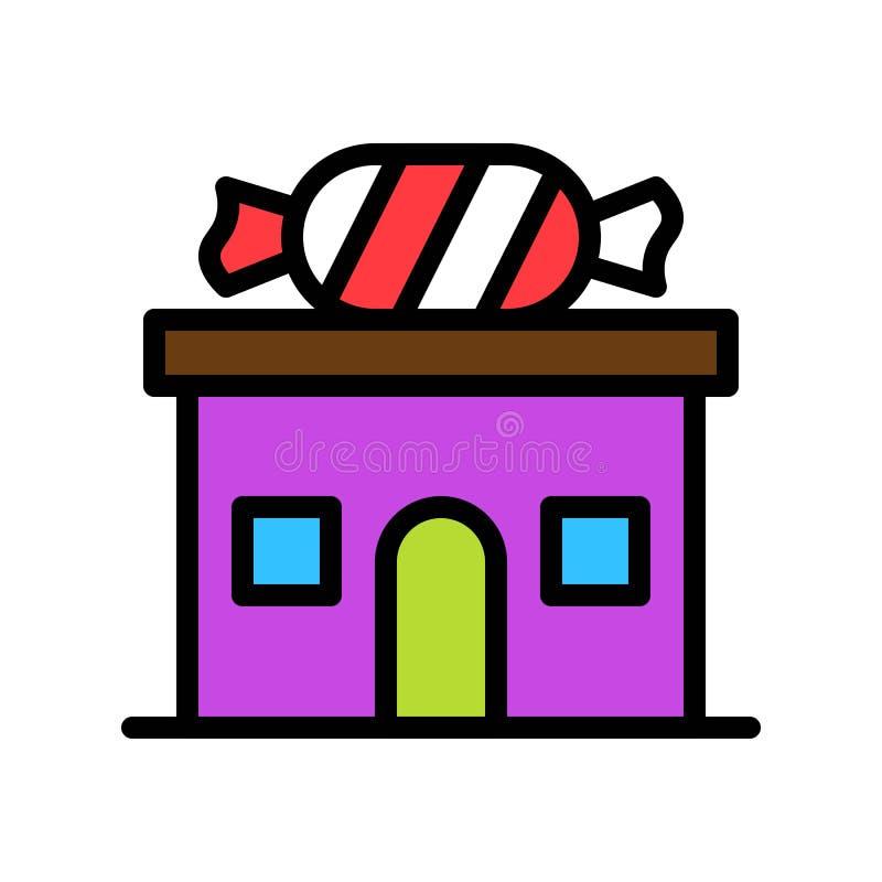 De vectorillustratie van de suikergoedwinkel, het gevulde editable overzicht van het stijlpictogram royalty-vrije illustratie