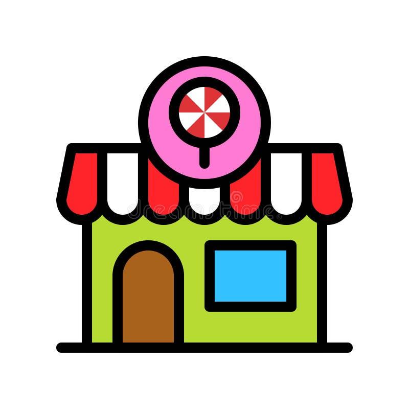 De vectorillustratie van de suikergoedwinkel, het gevulde editable overzicht van het stijlpictogram stock illustratie