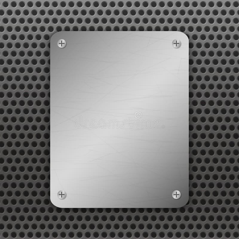 De vectorillustratie van Techno Geperforeerde Metaalachtergrond met plaat en klinknagels Metaal grungetextuur Geborsteld Staal stock illustratie