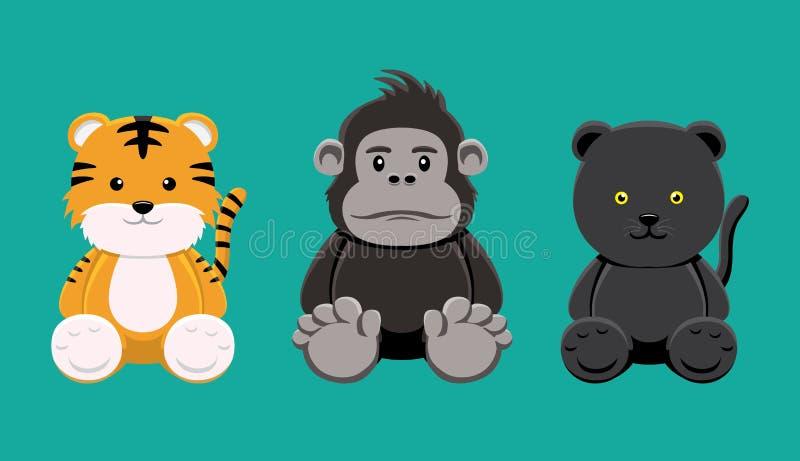 De Vectorillustratie van Tiger Gorilla Panther Doll Set Cartoon stock illustratie