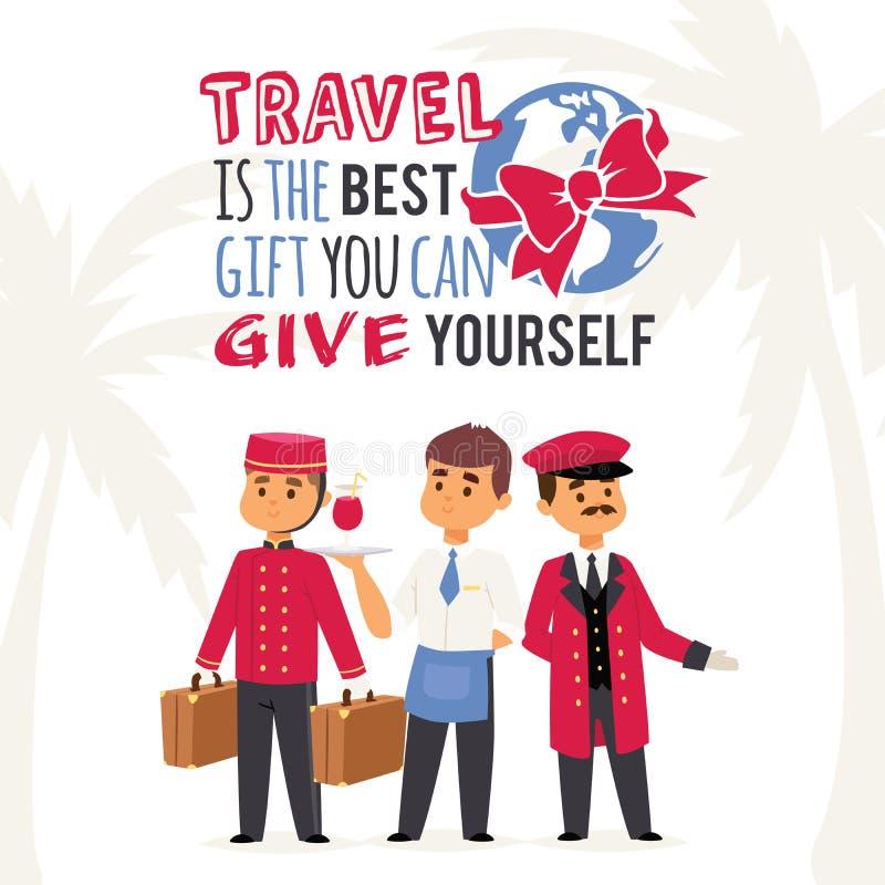 Is de vectorillustratie van de toerismeaffiche met tekstreis de beste gift u kunt geven Hotelpersoneel, portier met royalty-vrije illustratie