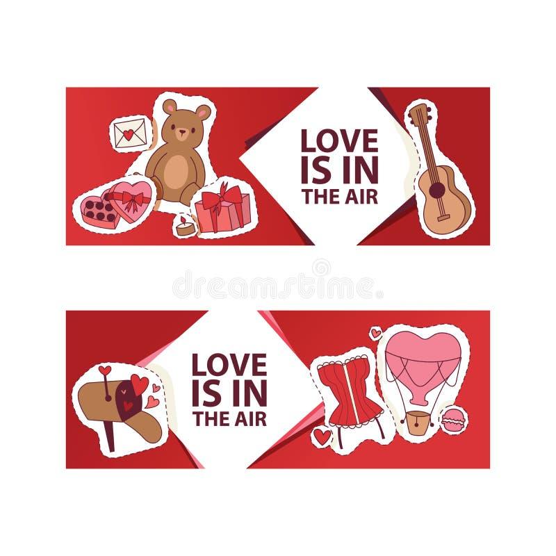 De vectorillustratie van de valentijnskaartendag De liefde is in de luchtbanner, affiche, vlieger, brochure met harten, draagt sp stock illustratie