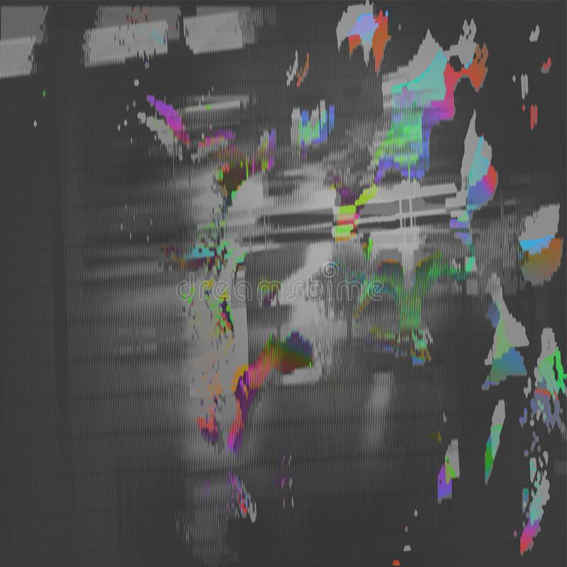 De VectorIllustratie van de voorraad Glitch de malplaatjes van de het schermfout van de stijlcomputer Het digitale abstracte ontw vector illustratie