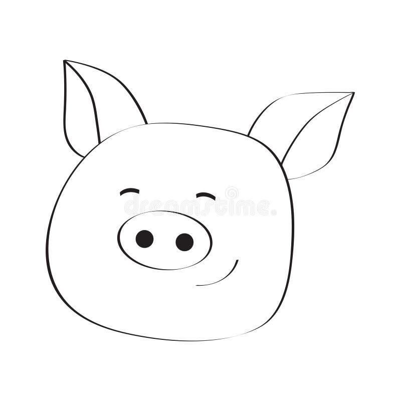 De VectorIllustratie van de voorraad Het gezichtspictogram van varkenssmiley royalty-vrije stock fotografie