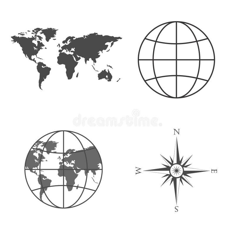 De vectorillustratie van wereldkaart, bol, wind nam, kompas toe vector illustratie