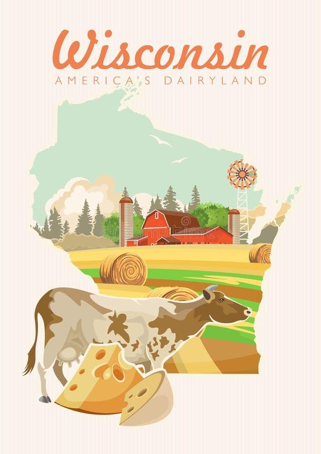 De vectorillustratie van Wisconsin met kaart Het zuivelland van Amerika Reisprentbriefkaar royalty-vrije illustratie