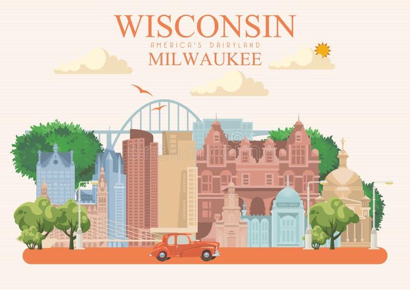 De vectorillustratie van Wisconsin met de kaart van Wisconsin Het zuivelland van Amerika Reisprentbriefkaar stock illustratie